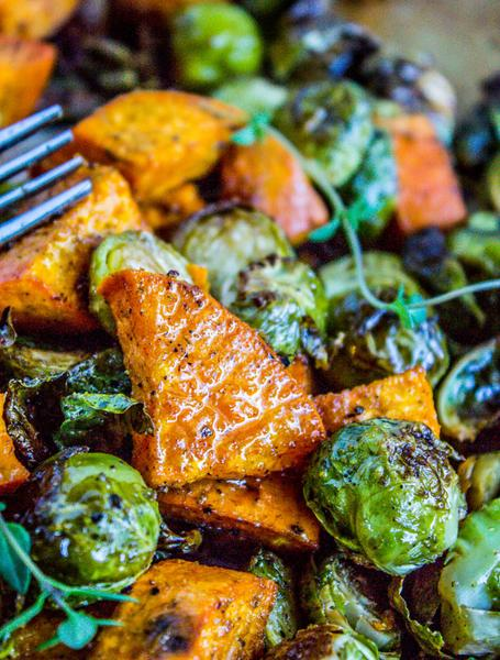 Roasted Sweet Potatoes and Brussels Sprouts