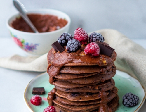 Double Chocolate Chip Pancakes with Chocolate PB Sauce (V,GF)