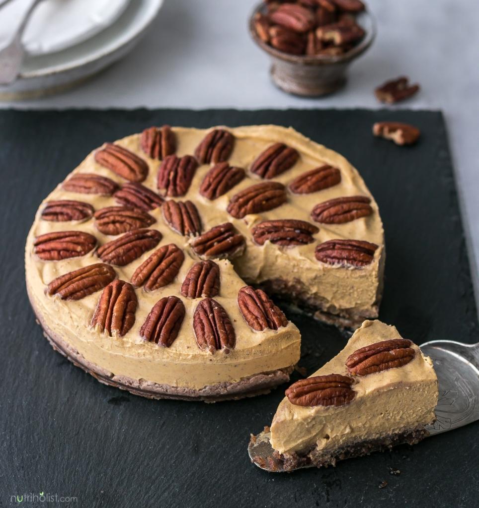 Pumpkin Mousse Cake (No-Bake, Vegan, Gluten-free, Grain